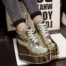 Womens Ankle Boots High Hidden Wedge Heels Creepers Platform Board Shoes Lace Up