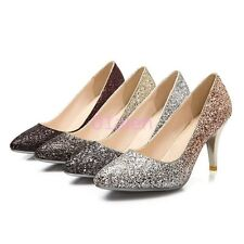 Womens Bling Bling Dress Evening High Heel Pointy Toe classic Slip on Pump Shoes