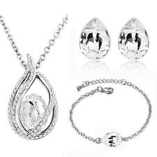 Bridal Jewelry Set | 18K White Gold Plated | Wedding Earrings Necklace Bracelet