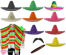 MEXICAN MAN COSTUME PONCHO SOMBRERO TASH CIGAR WILD WESTERN BANDIT FANCY DRESS