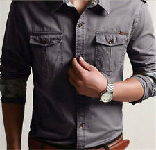 New Mens Military Army Denim Cotton Slim Camo Long Sleeve Casual Chic Shirt Size