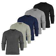Mens Brave Soul Chunky Knit Jumper Crew Neck Fisherman Knitted Sweater Top S-XL