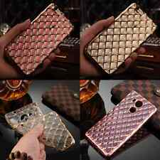 Crystal Rubber Plating Rhombus Pattern TPU Soft Case Cover For Mobile Phone