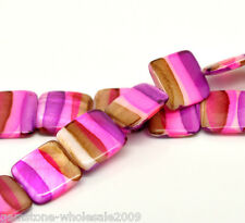 "Wholesale W09 Strand Multicolor Square Shell Loose Beads 20x20mm 39cm(15-3/8"")"
