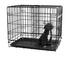 Dog Folding Crate Kennel Double Door Cage Carrier Door Metal Cat Ferret Rabbit