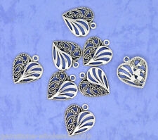 Wholesale Lots Silver Tone Hollow Heart Charms Pendants 22x19mm