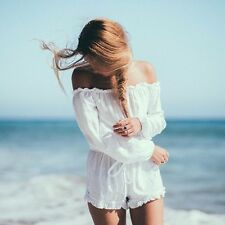 Women White Sexy Lace Up Ruffles Slash Neck Playsuits Summer Beach Short Rompers