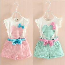 2PCS Toddler Kids Baby Girls T-shirt Tops+Shorts Pants Summer Outfit Clothes Set