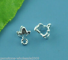 Wholesale Lots Silver Plated Leaf Pinch Bail Findings 7x7mm