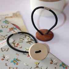 Women Simple Wood Elastic Hair Tie Rope Band Ponytail Holder Button Fashion Gift