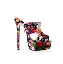 Floral Women High Heel Platform Shoes sexy boots sandals Slipper Shoes