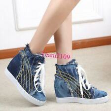 Fashion Womens Denim Hidden Wedge Heel Zip up Sneakers Athletic Lace Up Shoes