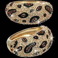 Pave Set Crystal Cz LEOPARD Panther Cuff Statement Bangle Gold Black Bracelet