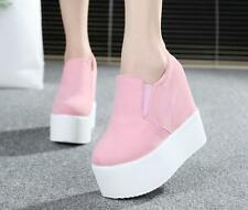 Sweet Women Elastic High Platform Wedge Heel Ankle Boots Shoes Canvas Sneakers
