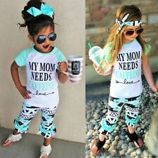 Toddler Kids Baby Girls Outfits Clothes Funny T-shirt Tops+Floral Pants 2PCS Set