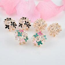 Fashion 1 pair Women Elegant Clover Flower Pearl Rhinestone Ear Stud Earrings SM