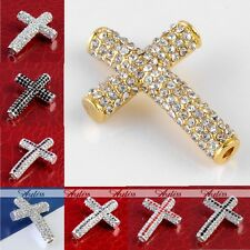 1x Crystal Curved Cross Connectors Charms Loose Spacer Jewely Findings Beads DIY