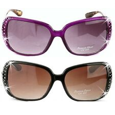 *BLING* PURPLE LEOPARD BLACK BROWN PAVE Crystal Rhinestone OVERSIZED Sunglasses