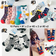 10 Pairs Kid Girls Boys Cotton Socks Size 1-10Y Wholesale Lot  Novelty Designs