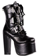 Demonia Gothic Goth Punk Torment 703 Triple Buckle Strap Chunky Platform Boots