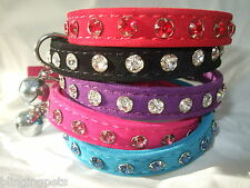 Velvet Cat Collar  kitten diamante safety bling 12 crystal stones diamonte bell