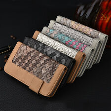 Dual-Color Woven PU Leather Flip Stand Wallet Case Cover For Iphone&Samsung