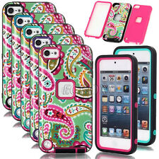 Armor Glossy Flower Pattern Heavy Duty Rugged Hybrid Case Cover For iPod Touch 5