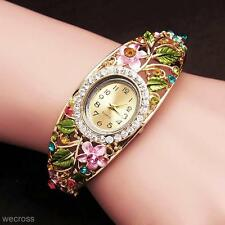 Stylish Womens Crystal Flower Leaf Quartz Wrist Bracelet Watch Wristwatch Gift