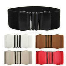 FASHION RETRO WOMEN GIRLS PU LEATHER ELASTIC STRETCH BUCKLE WIDE WAIST BELT