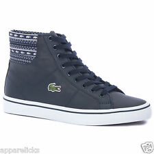 Lacoste Women's Marcel CRO SPW Mid Top Leather Casual Trainers Shoes Dark Blue