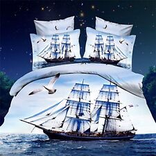 3D Bedding Queen Quilt Doona Duvet Cover Bed Sheet Pillowcase Set -Sail Boat