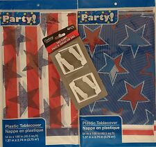 "PATRIOTIC TABLE COVERS 54"" x 108"" & CLAMPS Tablecloths Picnics SELECT: Pattern"