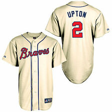 Men's Majestic BJ Upton Cream Atlanta Braves Alternate Old Replica Player Jersey