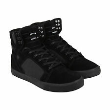Supra Skytop Mens Black Nubuck High Top Lace Up Sneakers Shoes