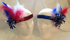 """4th of July! RED, WHITE & BLUE! Elastic Sequined 1"""" Wide Headband or Hatbands"""