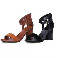 Womens Summer Retro Block Heels Ankle Strap Open Toe Sandals Black Brown US 5-8