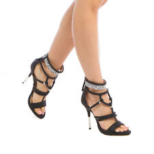 GX by Gwen Stefani Women's ACACIA Dress Sandal BLACK/WHITE