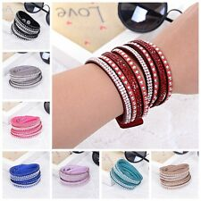 Hot Fashion Leather Wrap Wristband Cuff Punk Crystal Rhinestone Bracelet Bangle