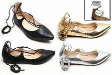 Womens Ladies Dolly Shoes Flats Ballerina Cute LaceUp Straps Pointy Casual Snake