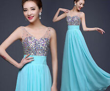 2016 New Womens Rhinestone Ball Gown Cocktail Evening Party Formal Dress Clothes