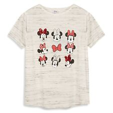 MINNIE MOUSE T Shirt Primark DISNEY Ladies Womens SEQUINS & GLITTER BOWS Tee