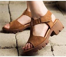 Women Solid Suede Leather Casual High Heels Sandals Womens Shoes US Size