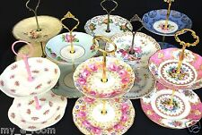 2 Tier Vintage Plate Cake Jewellery Stands High Tea Colclough Royal Vale Albert