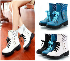 Womens Combat Rivet Military Lace Up Punk Goth Leather Ankle Boot Motor Sneakers