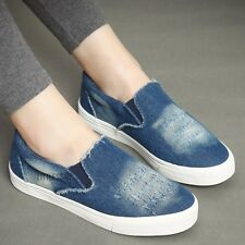 Women Rip Denim Canvas Shoes Pump Plimsoll Slip On Casual Sneaker Vintage Blue