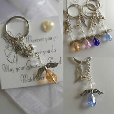 Guardian ANGEL  keyring LUCKY gift CRYSTAL GLASS charm WING heart