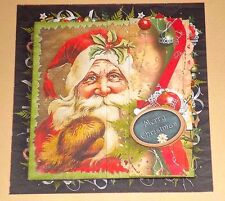 Handmade Greeting Card 3D Christmas With A Vintage Santa