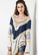 DENIM BLUE Knit Crochet Mix Bohemian Hippie Long Tunic Top Hollow Out Candy 2016