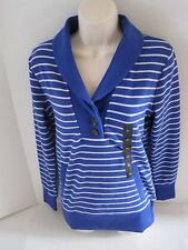 BANANA REPUBLIC Women's Blue Striped Shawl Collar Ribbed Pullover Size XS NWT