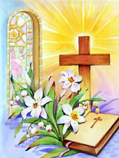 Easter Cross and Bible in Stain Glass Window 2-Sided Garden Flag